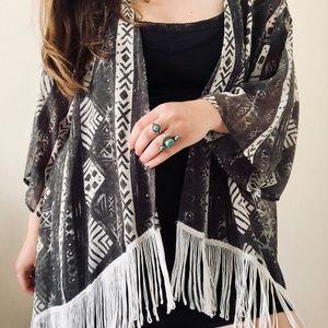 Hollister Tribal Print Fringe Kimono - One Size